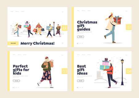 Buying gifts for christmas holidays concept of landing pages set with people carrying present boxes