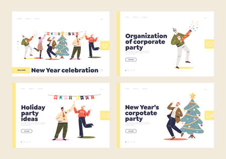 New year corporate party for workers and colleagues landing pages with cheerful coworkers dancing Illustration