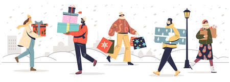 People carrying gifts boxes for christmas prepare new year and xmas presents for family and friends