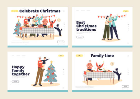 Family dinner at christmas concept of landing pages with parents and kids preparing for xmas meal