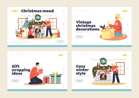 Christmas decoration for fireplace landing pages set with parents and kids decorating chimney Illustration