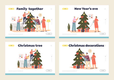 Decorating christmas tree landing pages set with happy family prepare for xmas and new year eve Illustration