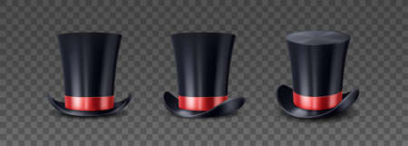 Magician top hat, black vintage cylinder cap with red bow. Circus performer headwear for magic trick