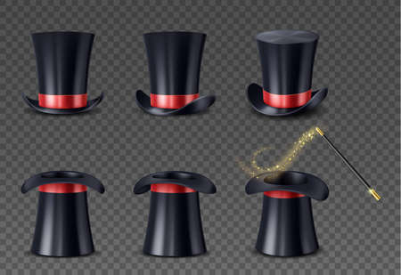 Set of realistic high cap with red ribbon and wand with sparkles. Magician hat and magical stick