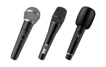 Set of realistic wireless microphones. Modern mics. Music mikes for singing or speech entertainment