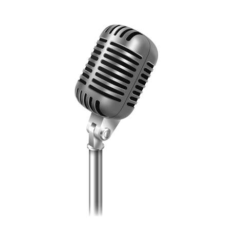 Vintage chrome microphone for stage speaking, vocal performance, standup entertainment Illustration