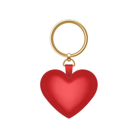 Realistic keychain red heart shape, holder for key with ring. Fob, accessory or souvenir trinket