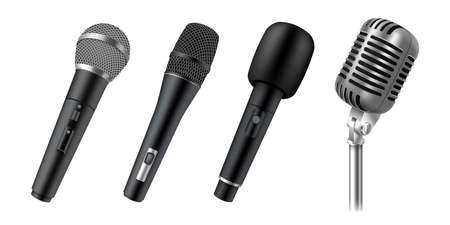Set of realistic microphones for stage, vocal, karaoke or public speech. Modern audio equipment