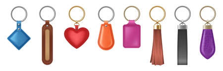 Colorful leather keychain of different shapes with metal golden and silver chain and ring