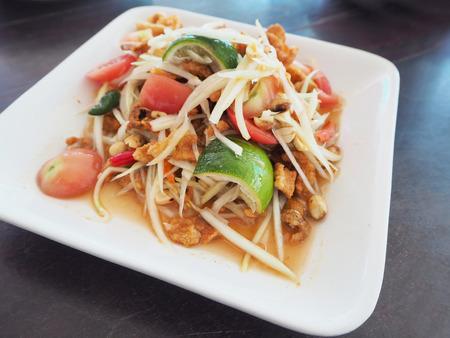 Thai papaya salad on dish
