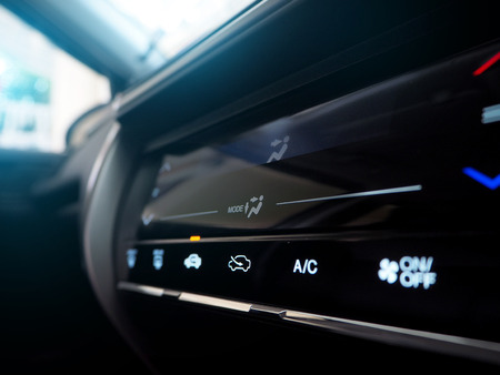 car air conditioning panel Touch screen close up Standard-Bild
