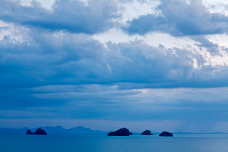 Panoramic view of seascape with cloudy sky , storm , blue ocean , mountains at Phang nga bay , Thailand Stock Photo