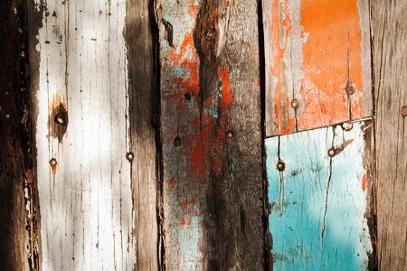 Cracked Pastel color vintage wooden textures under strong light and shadow Stock Photo