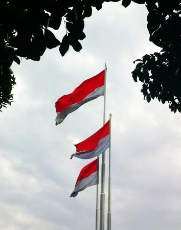 merah: Indonesia flags raise in Jakarta capital city of Indonesia