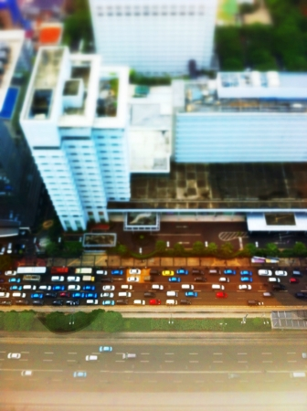 congested: One of congested road in Jakarta seen from above Stock Photo