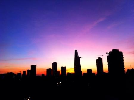 min: Sunrise over Ho Chi Min City Vietnam