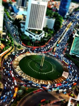jakarta: Terrible traffic jams at iconic landmark of Jakarta capital city of Indonesia Stock Photo