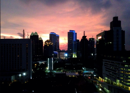 jakarta: Jakarta City at dusk Stock Photo