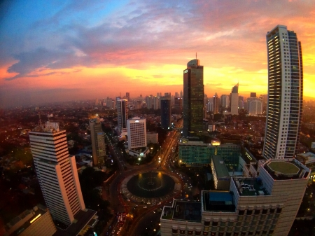 eye: Jakarta City during sunset Stock Photo