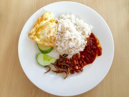 lemak: Nasi Lemak, a Malaysian famous breakfast meal