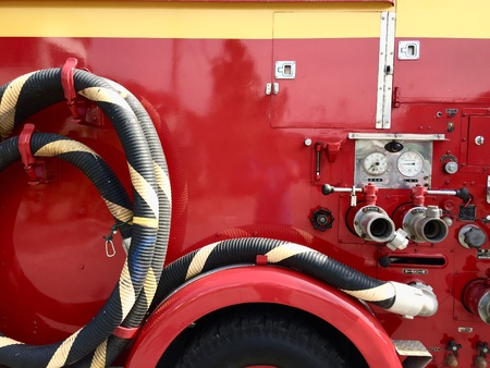 A voluntary fire engine on standby mode before attending emergency case
