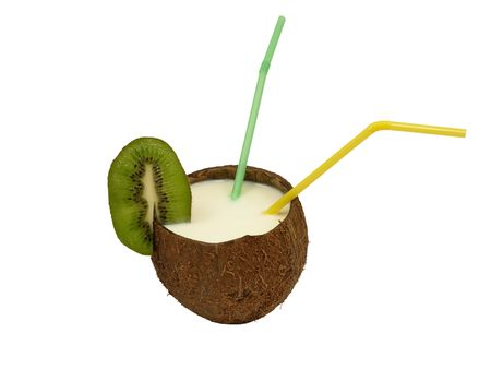 Coconut with a milk- shake and cocktail straws.