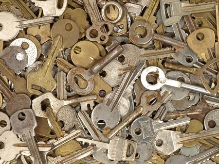 Set of old metal keys suitable as background.