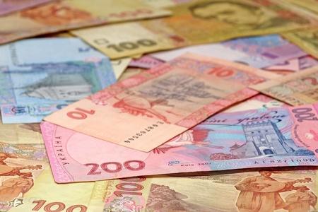 Ukrainian money hryvnia closeup as background. Stock Photo