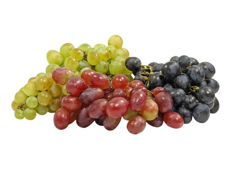 Different Varieties Grape Isolated On A White Background.  photo