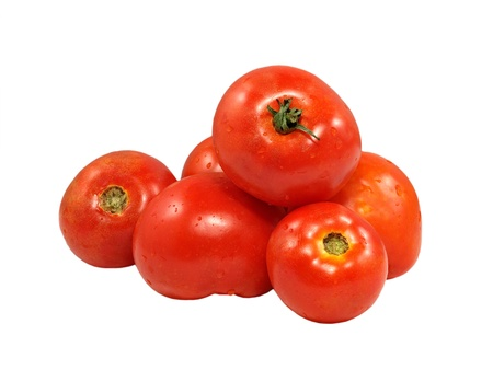 Fresh red tomatoes isolated on a white background. Stock Photo