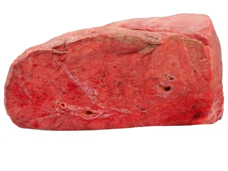 Uncooked cow lung isolated on a white background. Stock Photo
