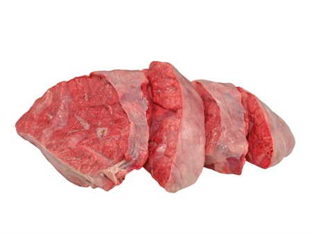 Sliced cow lung isolated on a white background. Stock Photo