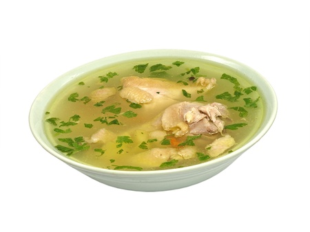 Chicken soup plate isolated on a white background.