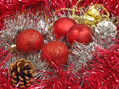 Christmas balls,cones and decoration. photo