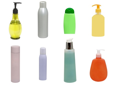 Set of multicolored plastic cosmetic containers isolated on a white background. Stock Photo - 11770790