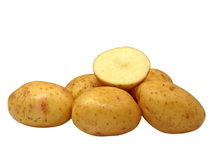 Fresh potatoes isolated on a white background. photo