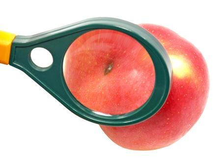 Worm-eaten apple under magnifying glass on white background. Stock Photo - 12075899