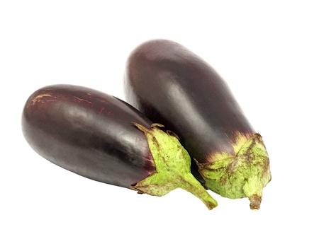 Two eggplants isolated on white background. Stock Photo