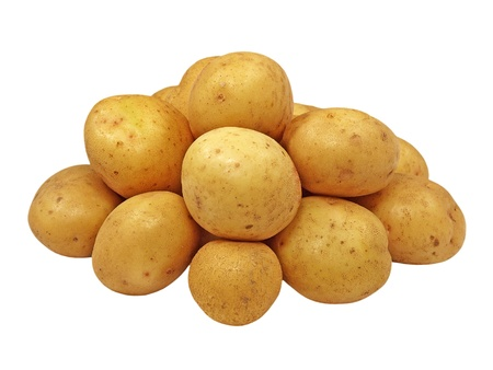Potatoes heap  isolated on white background.