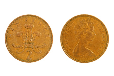 Great Britain Two Pence monet with a Queen Elizabeth profile isolated on white background. photo