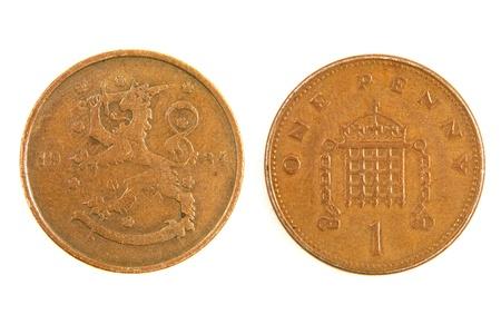 monet: Antiguo Finlandia monet un centavo aisladas sobre fondo blanco.