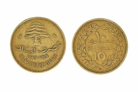 monet: Diez pesos liban�s primer Monet tomada aisladas sobre fondo blanco.