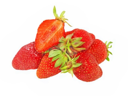 Red fresh strawberries isolated on a white background. Stock Photo - 13797823