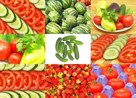 Set of different fresh vegetables and ripe strawberryes. photo