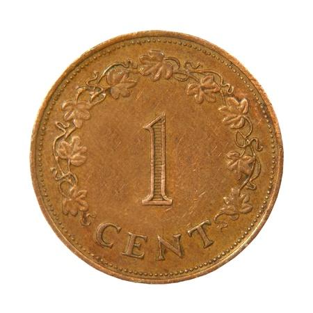 numismatic: Malta monet one cent isolated on white background.