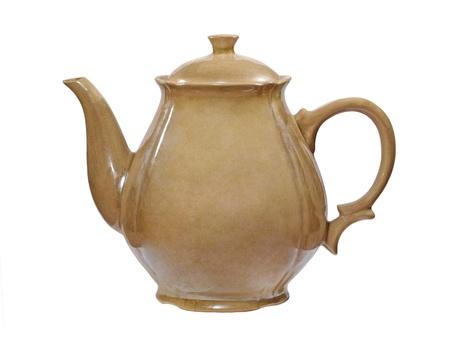 loamy: Old ceramic jug taken closeup isolated on white background  Stock Photo
