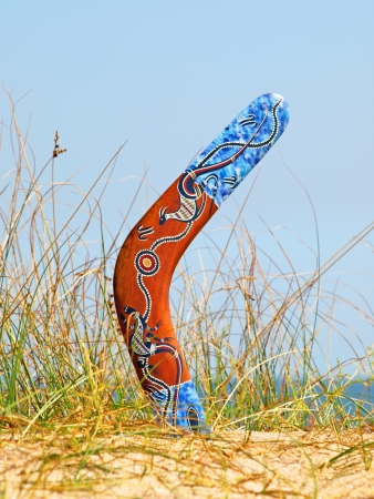 Boomerang on overgrown sandy dune against blue sea and sky.