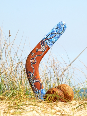 Boomerang and coconuts on overgrown sandy dune against blue sea and sky. photo