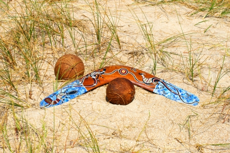 Boomerang and two coconuts on overgrown sandy dune. photo