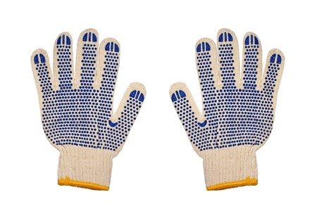 Work knitted gloves isolated on white background. photo